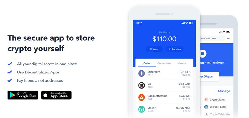Coinbase Säker Wallet Appen