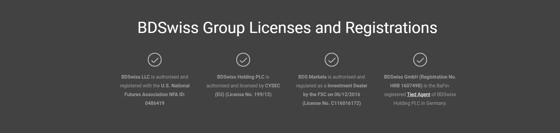 BDSwiss Reglering och Licenser
