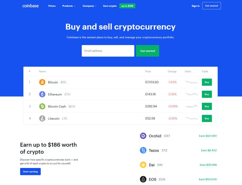 Coinbase Hemsidan