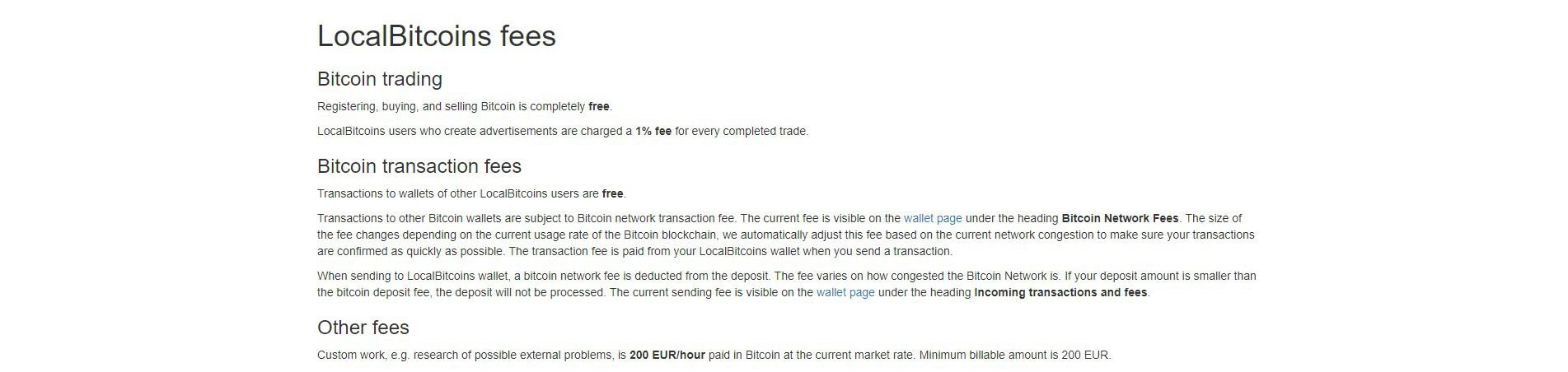 LocalBitcoins Avgifter